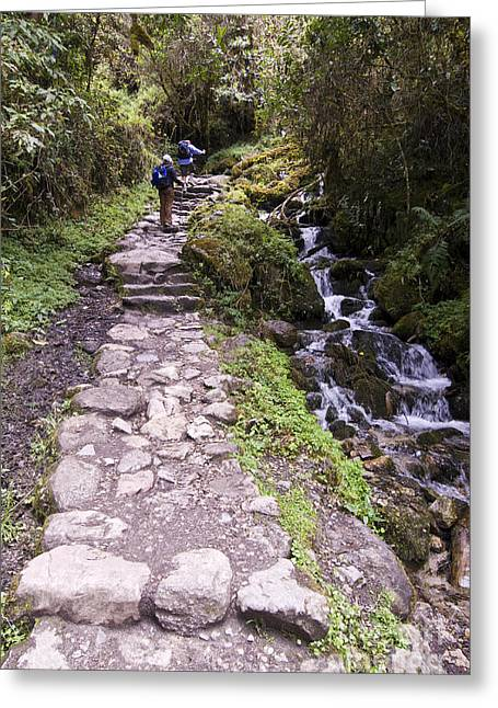Stepping Stones Greeting Cards - Hikers On Inca Trail Peru Greeting Card by William H. Mullins