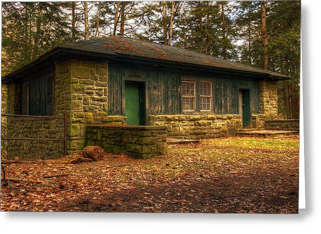 Cabin Window Greeting Cards - Hikers rest Greeting Card by Tim Buisman