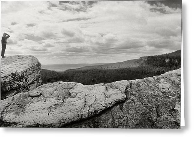 Hiker Greeting Cards - Hikers Standing On The Rocks, Gertrudes Greeting Card by Panoramic Images