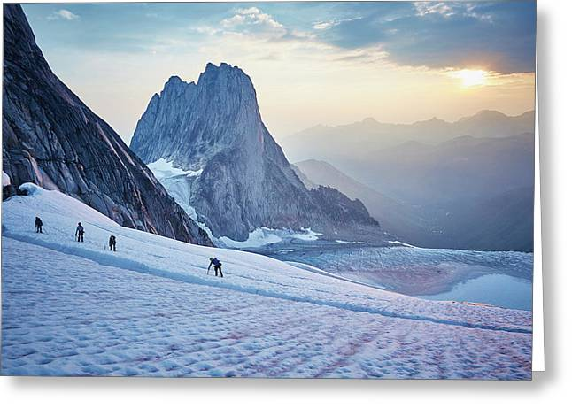 Hiking Around A Crevice Of West Ridge Greeting Card by Geoff George