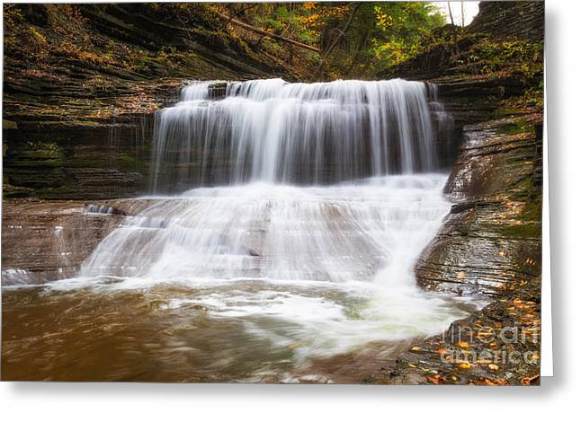 Buttermilk Falls Greeting Cards - Hiking Buttermilk Falls  Greeting Card by Michael Ver Sprill