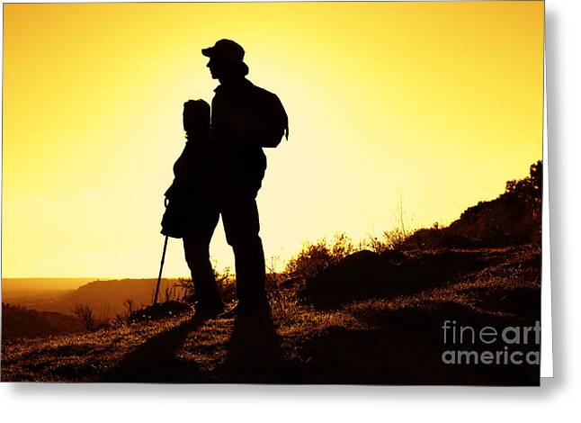 Twilight Views Greeting Cards - Hiking Couple Greeting Card by Carlos Caetano