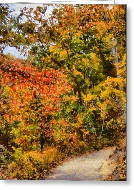 Green Foliage Mixed Media Greeting Cards - Hiking In Autumn Greeting Card by Dan Sproul