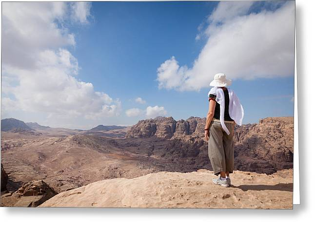 Petra Greeting Cards - Hiking in Petra Greeting Card by Alexey Stiop