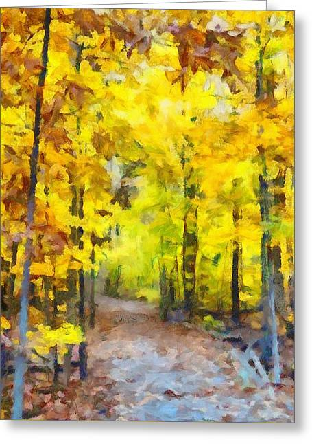 Hiking Mixed Media Greeting Cards - Hiking The Autumn Forest Greeting Card by Dan Sproul