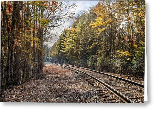 Old Country Roads Greeting Cards - Hiking the Tracks Greeting Card by Debra and Dave Vanderlaan