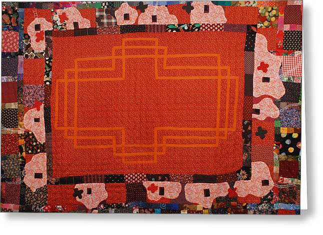 Orange Tapestries - Textiles Greeting Cards - Hildegard Greeting Card by Nancy Mauerman
