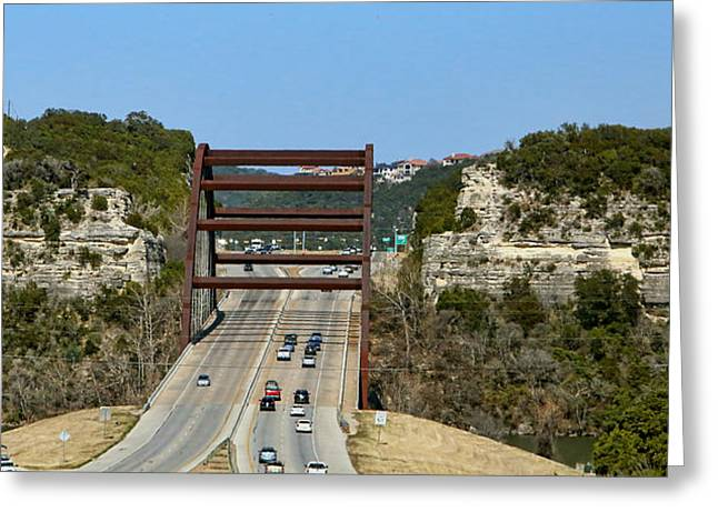 Green Burgandy Greeting Cards - Hill Country 360 Bridge Greeting Card by Linda Phelps