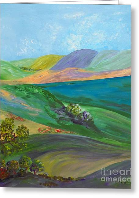 Green Hills Greeting Cards - Hill Country Greeting Card by Eloise Schneider