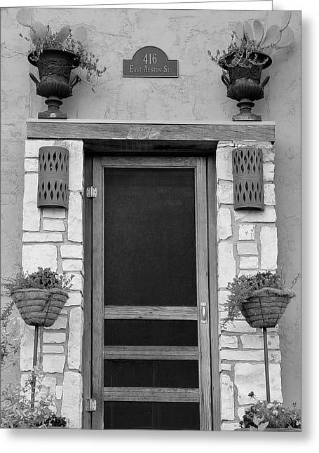 Screen Doors Greeting Cards - Hill Country Hacienda bw Greeting Card by Elizabeth Sullivan