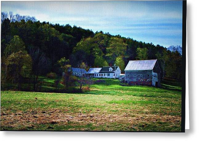Maine Agriculture Digital Art Greeting Cards - Hill Farm Greeting Card by Joy Nichols
