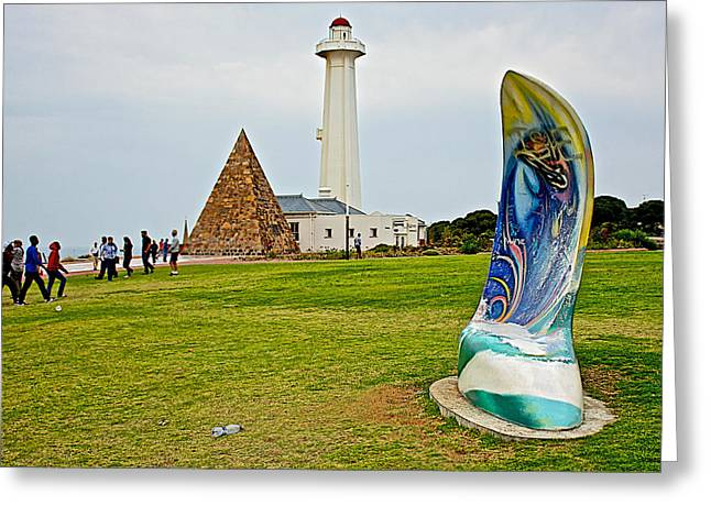 Port Elizabeth Greeting Cards - Hill Lighthouse Built in 1861 and Donkin Memorial Pyramid Honoring the Wife of Sir Rufus Donkin-Sout Greeting Card by Ruth Hager