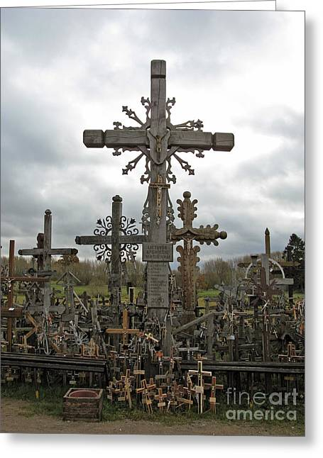 Ausra Paulauskaite Greeting Cards - Hill of Crosses 06. Lithuania.  Greeting Card by Ausra Paulauskaite