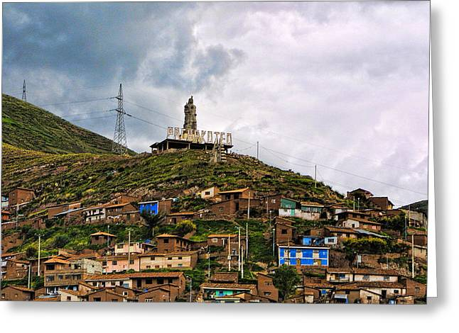 Scuplture Greeting Cards - Hill Side Dwellings Peru Greeting Card by Linda Phelps
