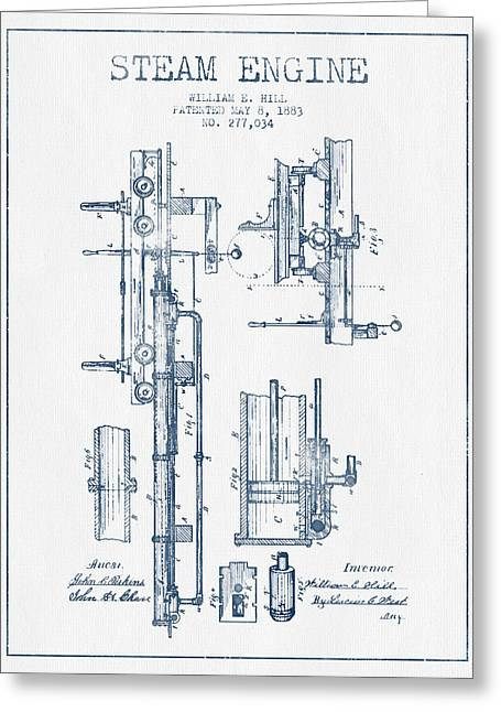 Steam Engine Greeting Cards - Hill Steam Engine Patent Drawing From 1883- Blue Ink Greeting Card by Aged Pixel