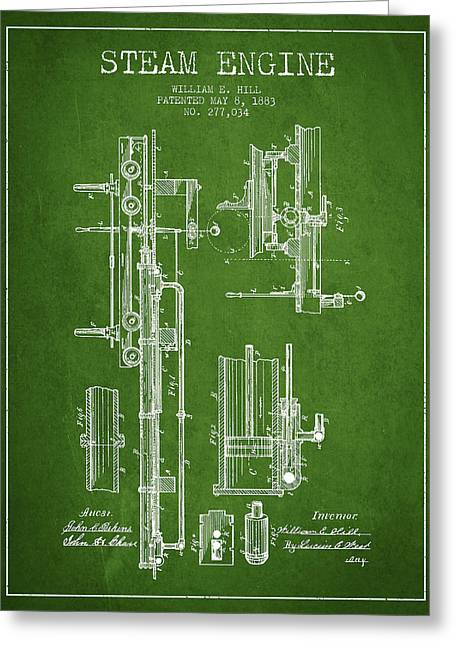 Steam Engine Greeting Cards - Hill Steam Engine Patent Drawing From 1883- Green Greeting Card by Aged Pixel