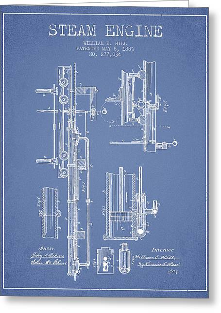 Steam Engine Greeting Cards - Hill Steam Engine Patent Drawing From 1883- Light Blue Greeting Card by Aged Pixel