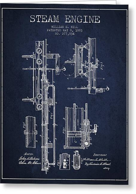 Steam Engine Greeting Cards - Hill Steam Engine Patent Drawing From 1883- Navy Blue Greeting Card by Aged Pixel