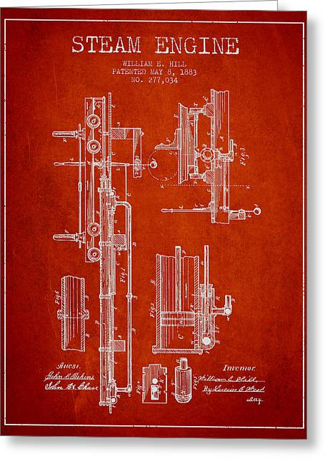 Bedroom Art Greeting Cards - Hill Steam Engine Patent Drawing From 1883- Red Greeting Card by Aged Pixel