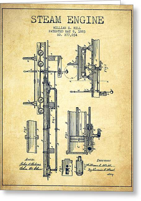 Steam Room Greeting Cards - Hill Steam Engine Patent Drawing From 1883- Vintage Greeting Card by Aged Pixel