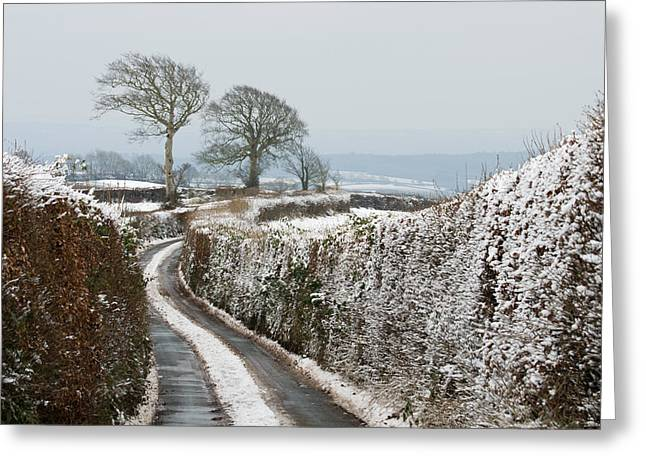 Leaden Sky Greeting Cards - Hill top lane in snow Greeting Card by Pete Hemington