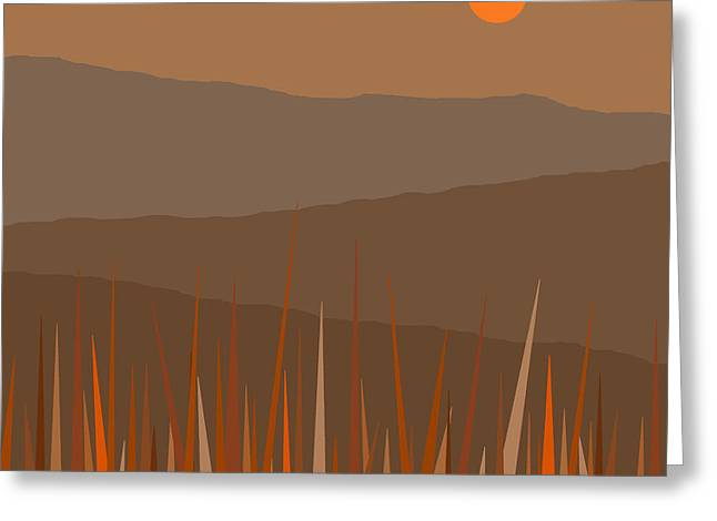 Hill Tops Greeting Card by Val Arie
