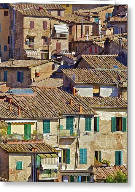 Tuscan Hills Greeting Cards - Hill Town Village of Cortona Greeting Card by David Letts