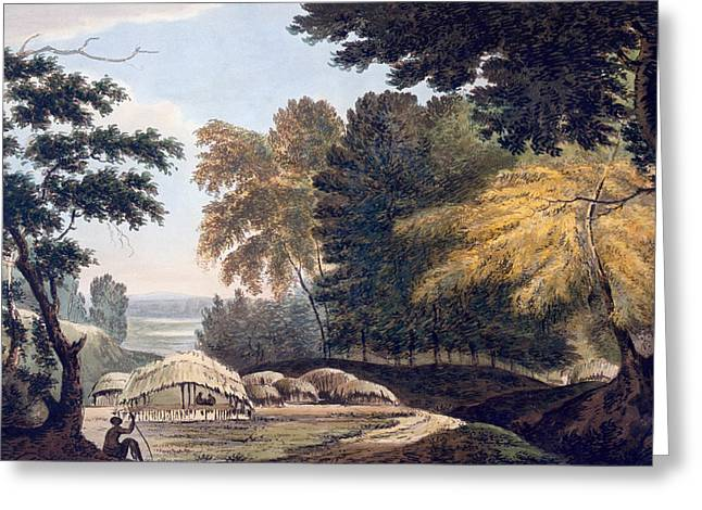Hill Village in the District of Bauhelepoor Greeting Card by William Hodges