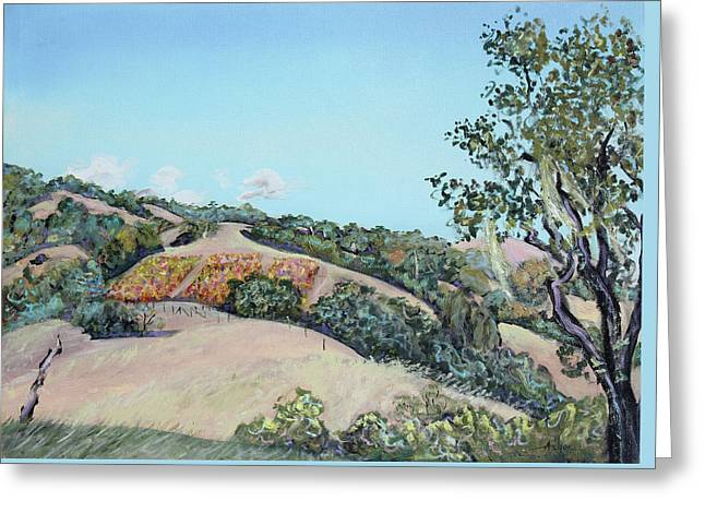 Olive Yellow Grass Greeting Cards - Hill Vineyard and Friendly Clouds Greeting Card by Asha Carolyn Young