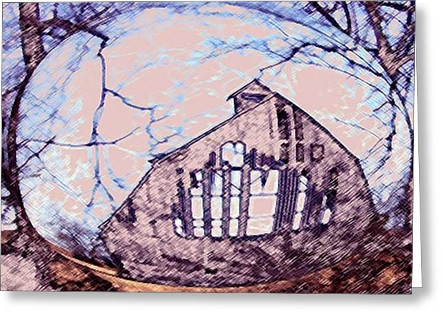 Wooden Building Mixed Media Greeting Cards - Hillards Barn Greeting Card by Dennis Buckman