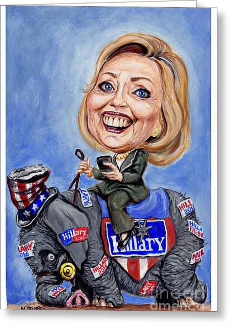 Celeb Greeting Cards - Hillary Clinton 2016 Greeting Card by Mark Tavares