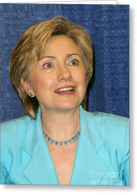 First-lady Greeting Cards - Hillary Clinton Greeting Card by Nina Prommer