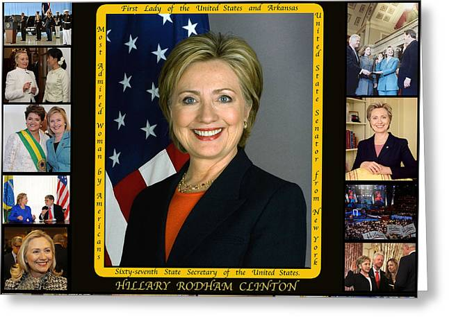 First-lady Greeting Cards - Hillary Rodham Clinton        Greeting Card by James William Allen