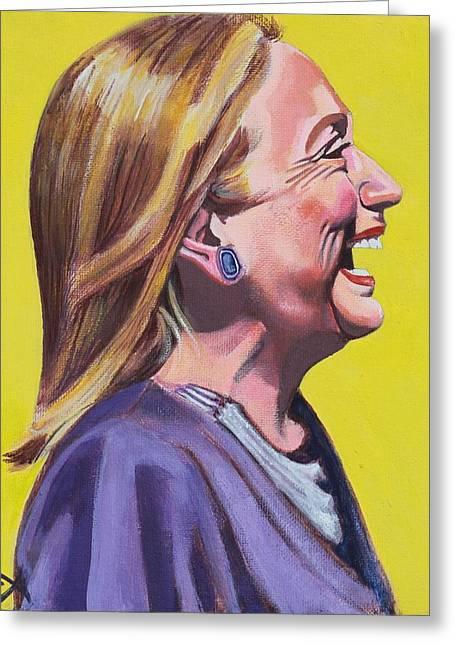 Hillary Rodham Greeting Cards - Hillary Rodham Clinton Portrait Laughing Greeting Card by Elizabeth Barretta