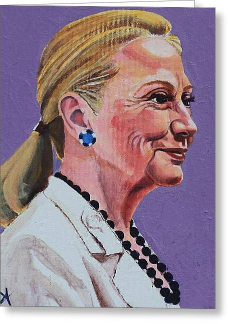 Hillary Rodham Greeting Cards - Hillary Rodham Clinton Portrait with Ponytail Greeting Card by Elizabeth Barretta
