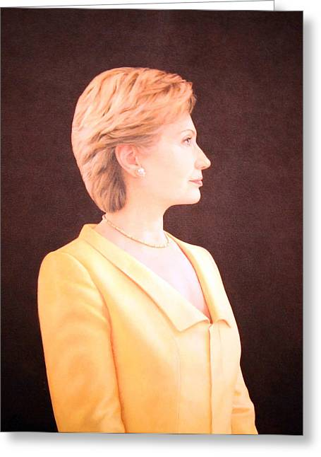 Best Sellers -  - Lady Washington Greeting Cards - Hillary Rodham Clinton Up Close Greeting Card by Cora Wandel