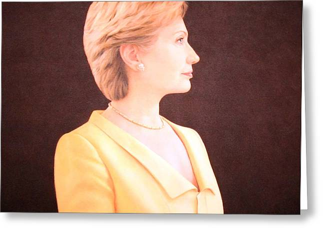 Hillary Rodham Clinton Up Close Greeting Card by Cora Wandel