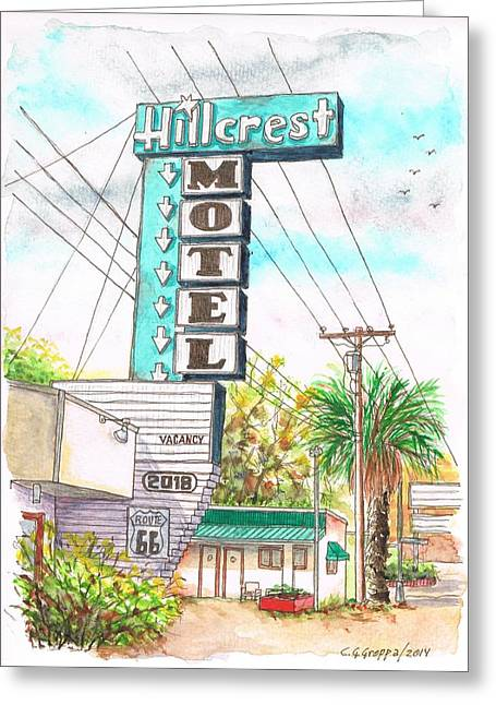 Devine Greeting Cards - Hillcrest Motel in Route 66 - Andy Devine Ave in Kingman - Arizona Greeting Card by Carlos G Groppa