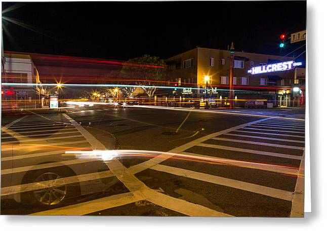 Crosswalk Greeting Cards - Hillcrest Neon Ghost Greeting Card by John Daly