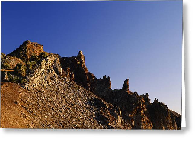 Crater Lake Greeting Cards - Hillman Peak Crags At Sunrise, Crater Greeting Card by Panoramic Images