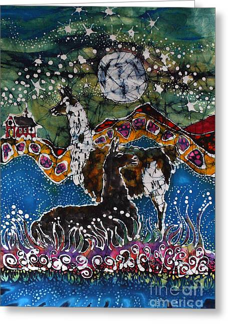 Field. Cloud Tapestries - Textiles Greeting Cards - Hills Alive With Llamas Greeting Card by Carol Law Conklin