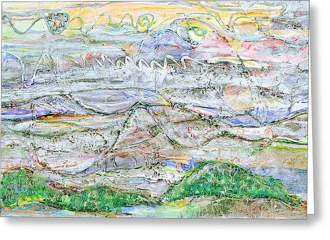 Hills And Fog Greeting Card by Regina Valluzzi