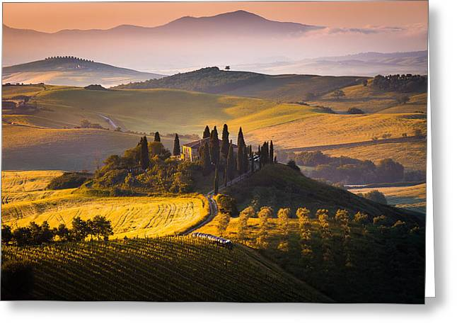 Italian Landscapes Greeting Cards - Hills and houses Greeting Card by Stefano Termanini