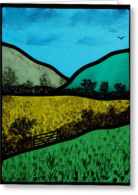 Panel Glass Art Greeting Cards - Hills and meadow Greeting Card by Ron Harpham