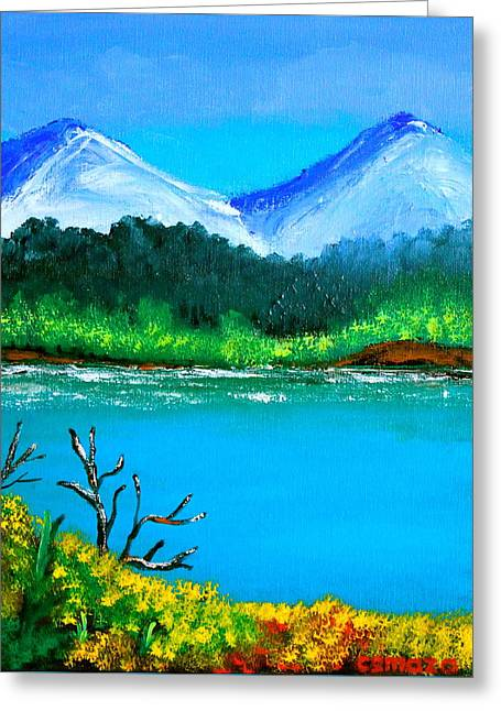 Filipino Artists Greeting Cards - Hills by the Lake Greeting Card by Cyril Maza