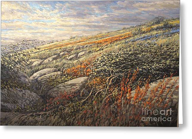 Artiste Quebecois Du Canada Greeting Cards - Hills flowers Greeting Card by Pierre Morin