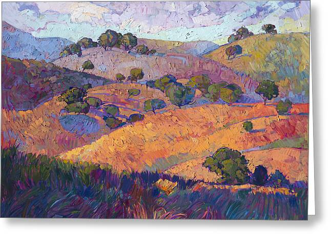Wild Grass Greeting Cards - Hills of Paso Greeting Card by Erin Hanson