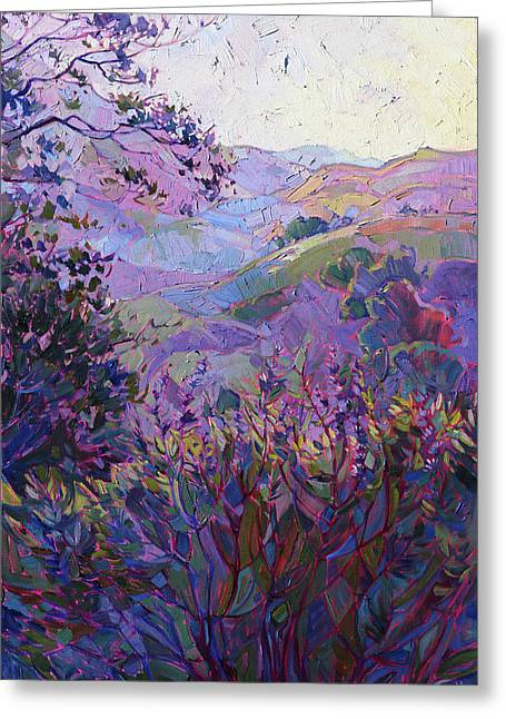 Central Greeting Cards - Hills of Wine Greeting Card by Erin Hanson