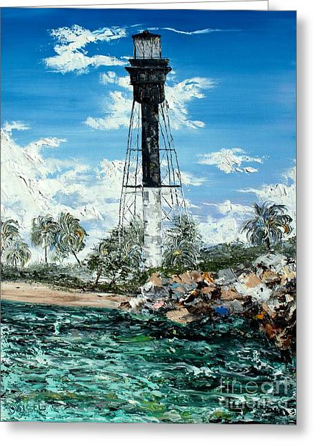 Pallet Knife Greeting Cards - Hillsboro inlet lighthouse abstract impasto oil painting Greeting Card by David Sigel