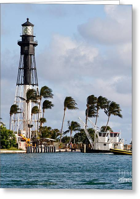 Florida House Greeting Cards - Hillsboro Inlet Lighthouse Greeting Card by Michelle Wiarda